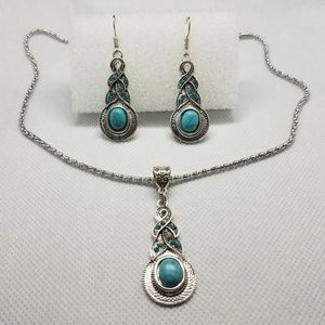 New Turquoise Silver Earrings Necklace Set